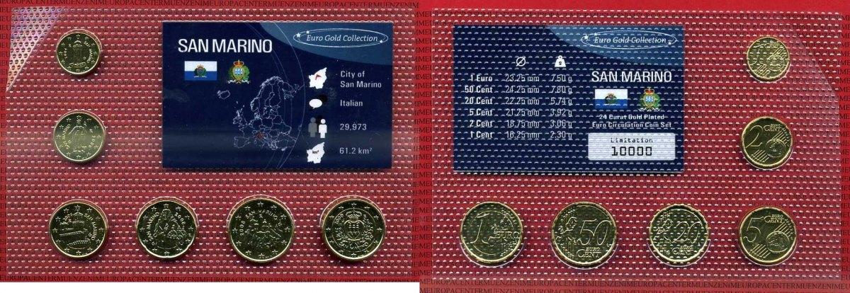 Kms 178 Euro 6 Münzen Verschiedene San Marino Kursmünzensatz San