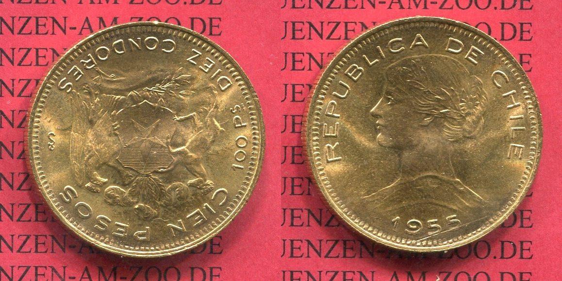 100 Pesos 10 Condores Goldmünze 1955 Chile Chile 100 Pesos, 10 Condores, 1955 Goldmünze prfr-stgl. USA MS 62-63