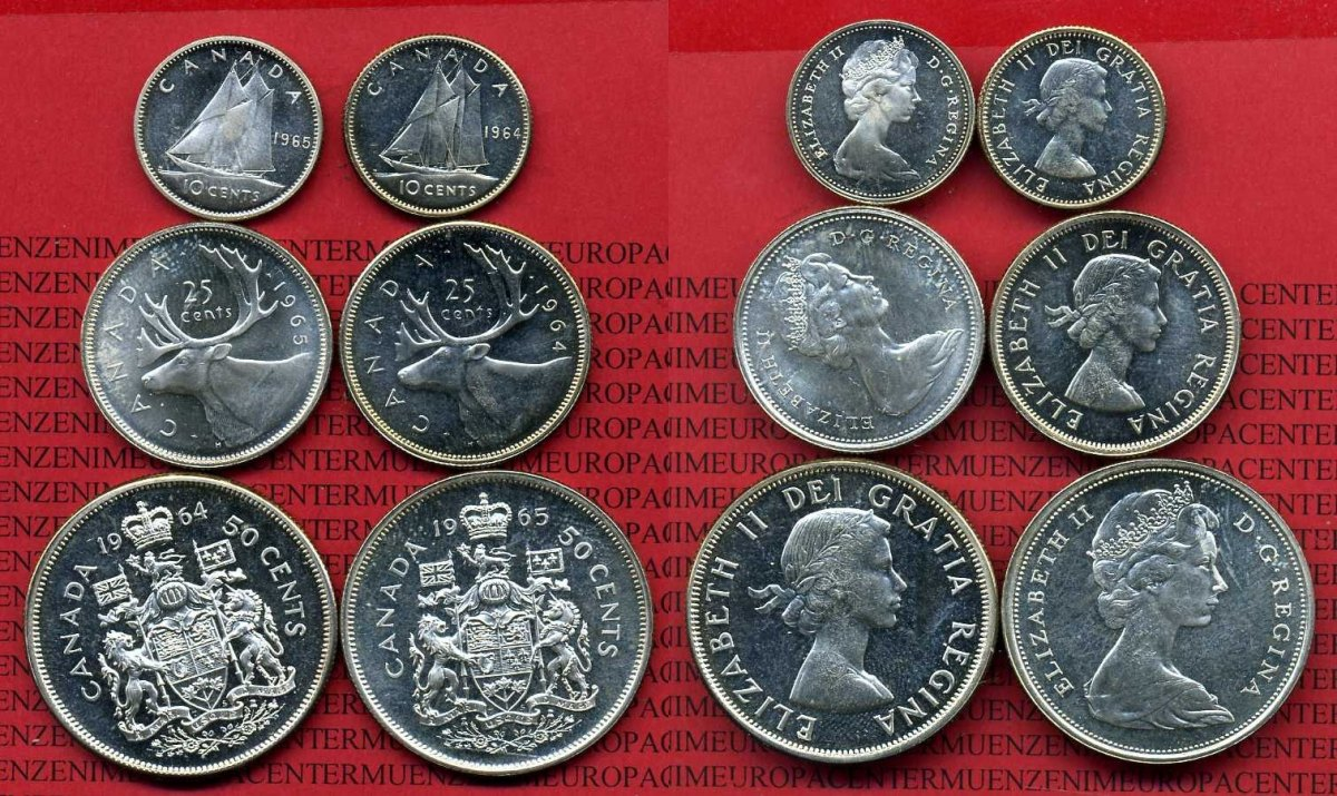 Lot 6 Münzen 196465 Kanada Canada Kanada Lot 2 X 10 Cent 2 X 25