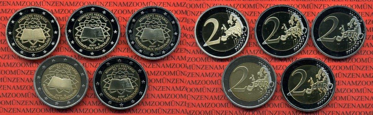 2 Euro Gedenkmünzenset Spiegelglanz 2007 Bundesrepublik Deutschland