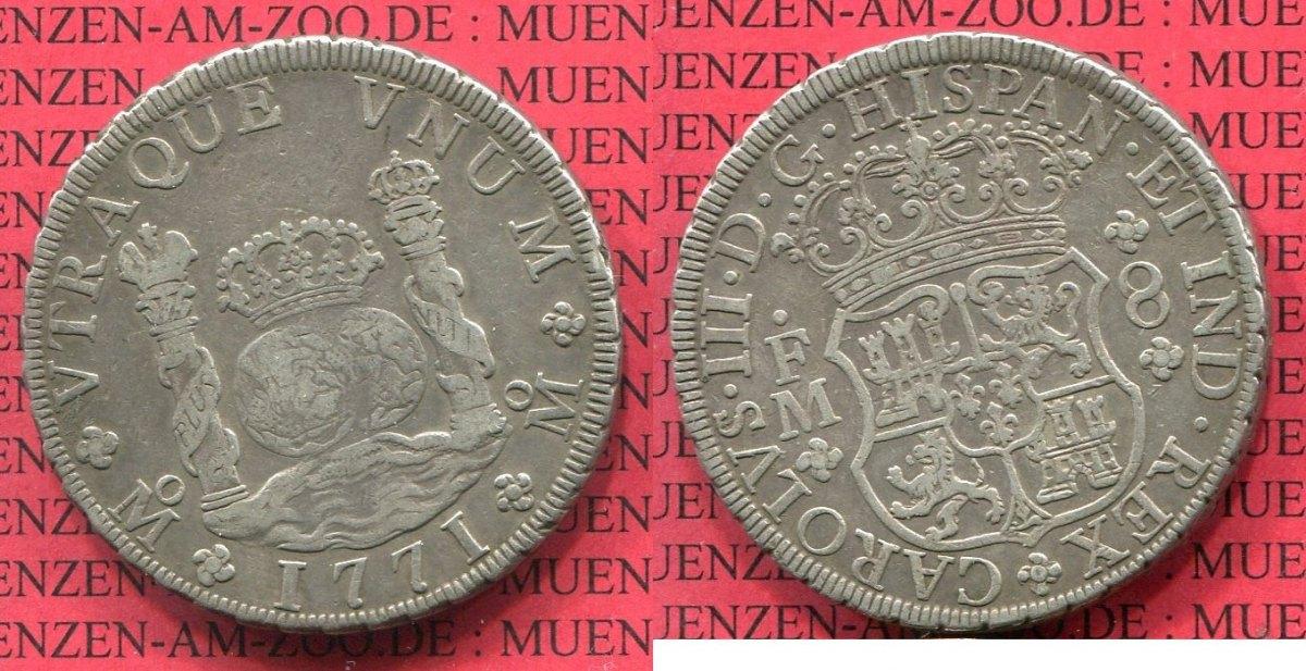 8 Reales Silbermünze Wappen M Säulen 1771 Mexico Mexiko Unter