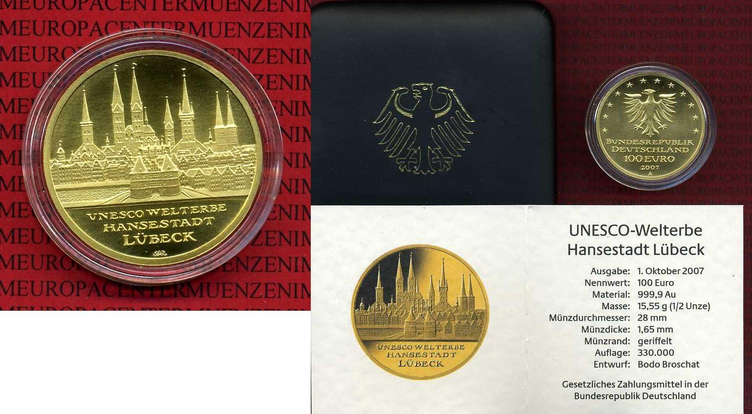 100 euro goldm nze 1 2 unze 2007 a deutschland brd germany unesco serie weltkulturerbe l beck. Black Bedroom Furniture Sets. Home Design Ideas