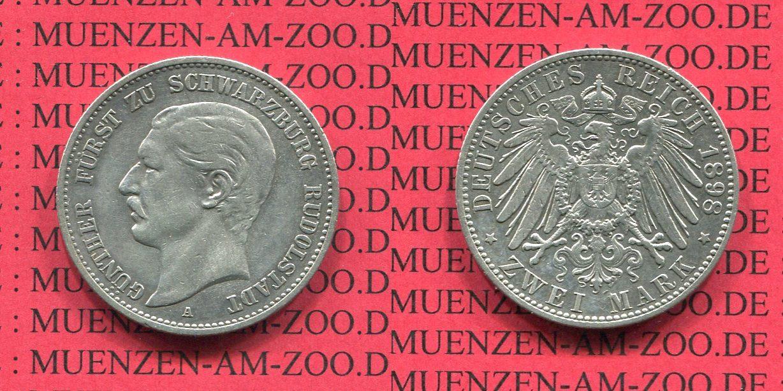 2 Mark Silbermünze 1898 Schwarzburg Rudolstadt Schwarzburg Rudolstadt 2 Mark 1898 ,Kursmünze Fürst Günther J. 167 fast vz nicht gereinigt