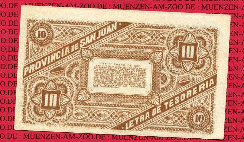 10 Centavos Letra Banknote 1898/99 San Juan Provinz Argentinien San Juan Provinz Argentinien 10 Centavos 1898/99 Letra Banknote gebraucht weniger gebraucht