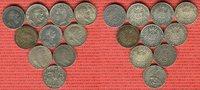 Baden, Bayern, Preußen, Württemberg 10 x 2 Mark Silbermünzen Kaiserreich Lot 10 Typen