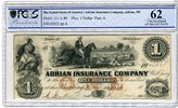 1 Dollar 18xx USA Adrian Insurance Company...