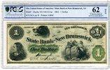 1 Dollar 1861 USA Hund, Mädchen State Bank...
