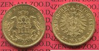 20 Mark Goldmünze 1889 J Hamburg Stadtwapp...