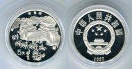 5 Yuan Silbermünze 1997 China Menschen bei...