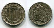 3 III Cent 1865 USA Nickel sehr schön  32.62 US$ 30,00 EUR  +  9.24 US$ shipping