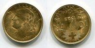 10 Franken Goldmünze 1922 B Schweiz Vrenel...