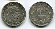 5 Korona / Kronen Silbermünze 1908 Österre...