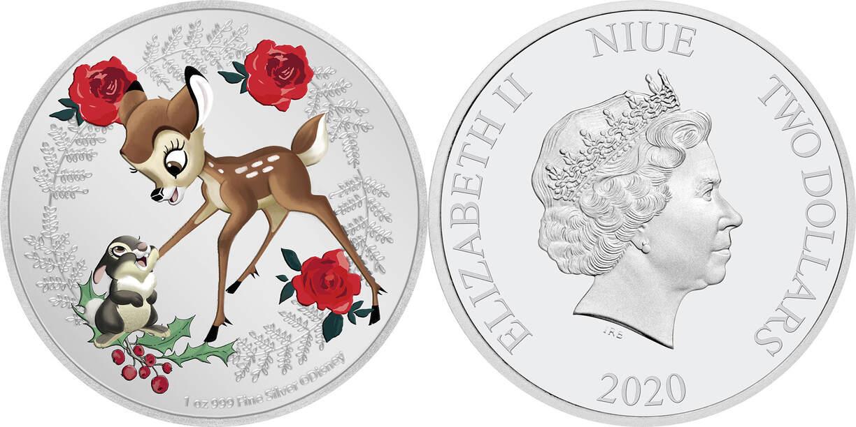 2020 Niue Disney Seasons Greetings Bambi /& Thumper 1oz Silver Coin Christmas
