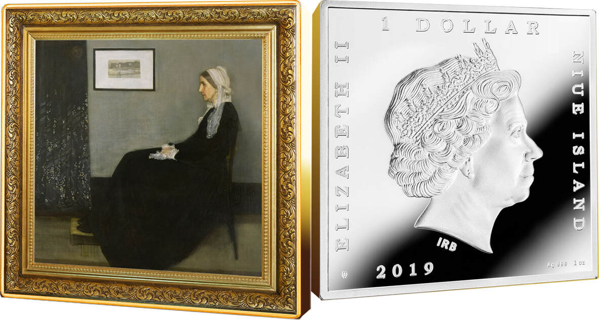 WHISTLER MOTHER 1$ silver coin James McNeil Treasures World Painting Niue 2019