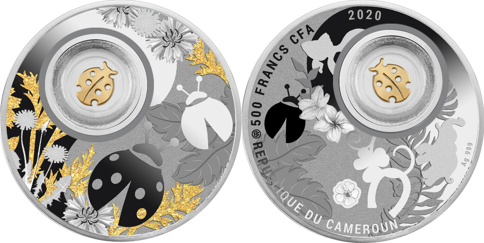 Ladybug Lucky Silver Coin 500 Francs Cameroon 2020 Proof Ma Shops
