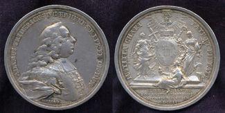 Silbermedaille 1755 Würzburg Bistum: Adam Friedrich, 1755-1779: ss, winz. Henkelspur