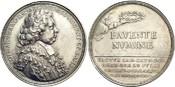 AR-Medaille 1712 Mainz-Erzbistum Lothar Franz von Schönborn 1695-1729. Min.Rf., min.Kr., schöne Patina, selten, vorzüglich +