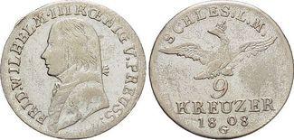 9 Kreuzer 1808  G Brandenburg-Preussen Friedrich Wilhelm III. 1797-1840. Selten, fast vorzüglich