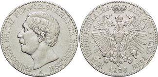 Vereinstaler 1870  A Schwarzburg-Sondershausen Günther Friedrich Karl II. 1835-1880. sehr schön - vorzüglich