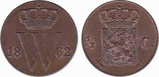 ½ Cent 1862 Netherlands Willem III 1849-1890. Unc
