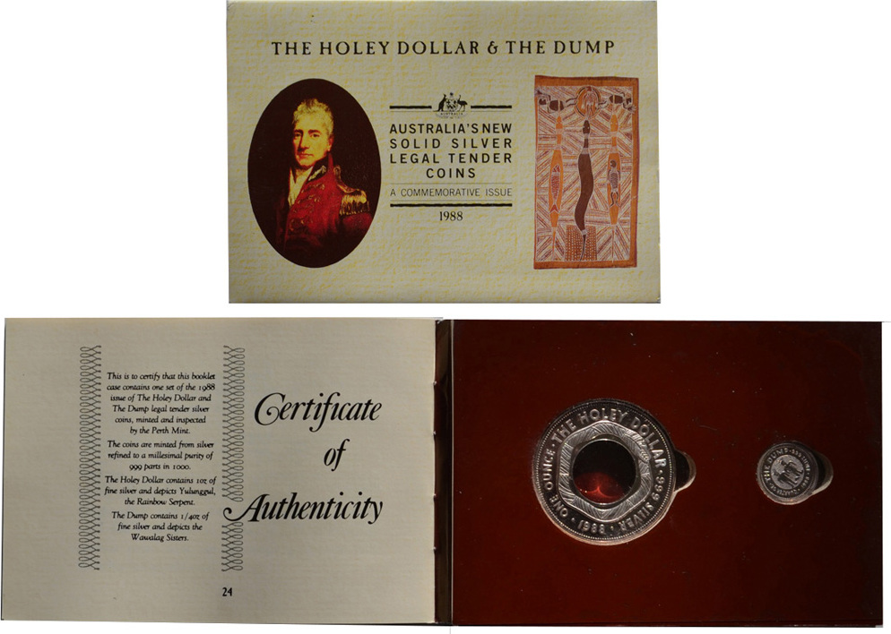 1988 The Holey Dollar and the Dump Australia/'s Solid Silver Legal Tender Coins