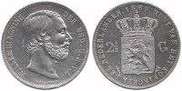2½ Guilder 1869 Netherlands Willem III 184...
