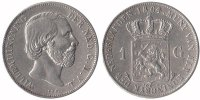 1 Guilder 1864 Netherlands Willem III 1849...
