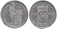 Silver Ducat Piedfort 1748 Netherlands / Province Zeeland Standing Knight, Arms between year Extremely Fine