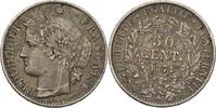 50 Centimes 1871 A Frankreich 3. Republik ...