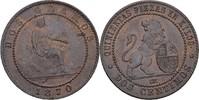 2 Centimos 1870 OM Spanien Prov. Regierung...