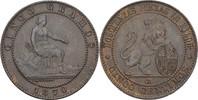 5 Centimos 1870 OM Spanien Prov. Regierung vz