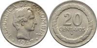 20 Centavos 1947 B Kolumbien  fast Stempel...