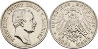 3 Mark 1909 Sachsen Dresden Friedrich Augu...