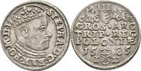 Dreigröscher Trojak 1585 Polen Olkusz Step...