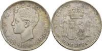 5 Peseta 1898 (98) Spanien Alfonso XIII. Kratzer, ss  30,00 EUR  +  3,00 EUR shipping
