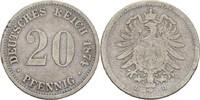20 Pfennig 1874 D Kaiserreich Wilhelm I., 1861-88 s kl. Bug  5,00 EUR  +  3,00 EUR shipping