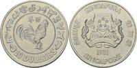 10 Dollars 1981 Singapur Jahr des Hahns fa...