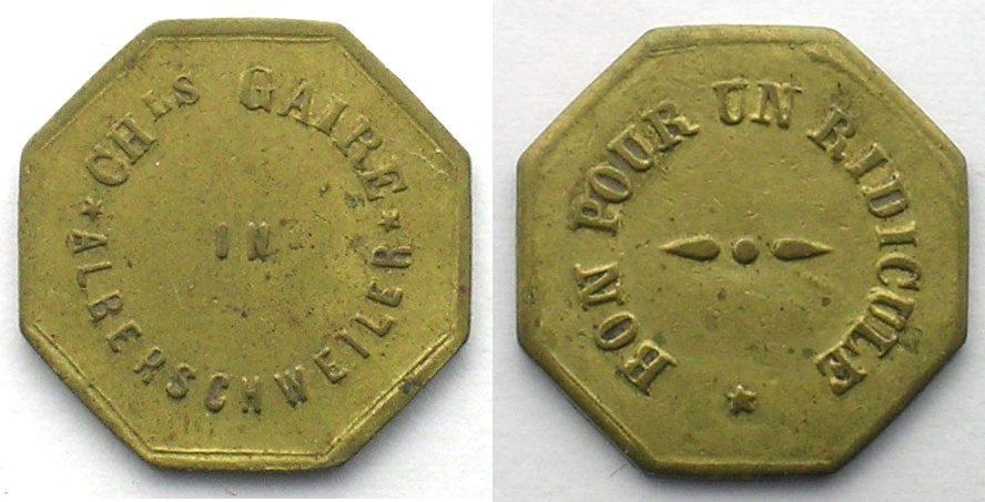 Emergency Coins From Alsace Lorraine Alberschweiler Abreschwiller 57 Chls Gaire Bon Pour Un Ridicule Lt 8 176 Mm Ttb Vf