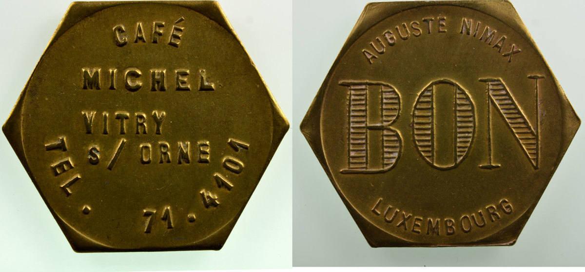 Emergency Coins From Alsace Lorraine Vitry Sur Orne 57 Café Michel Lt 6 24mm Ttb Vf