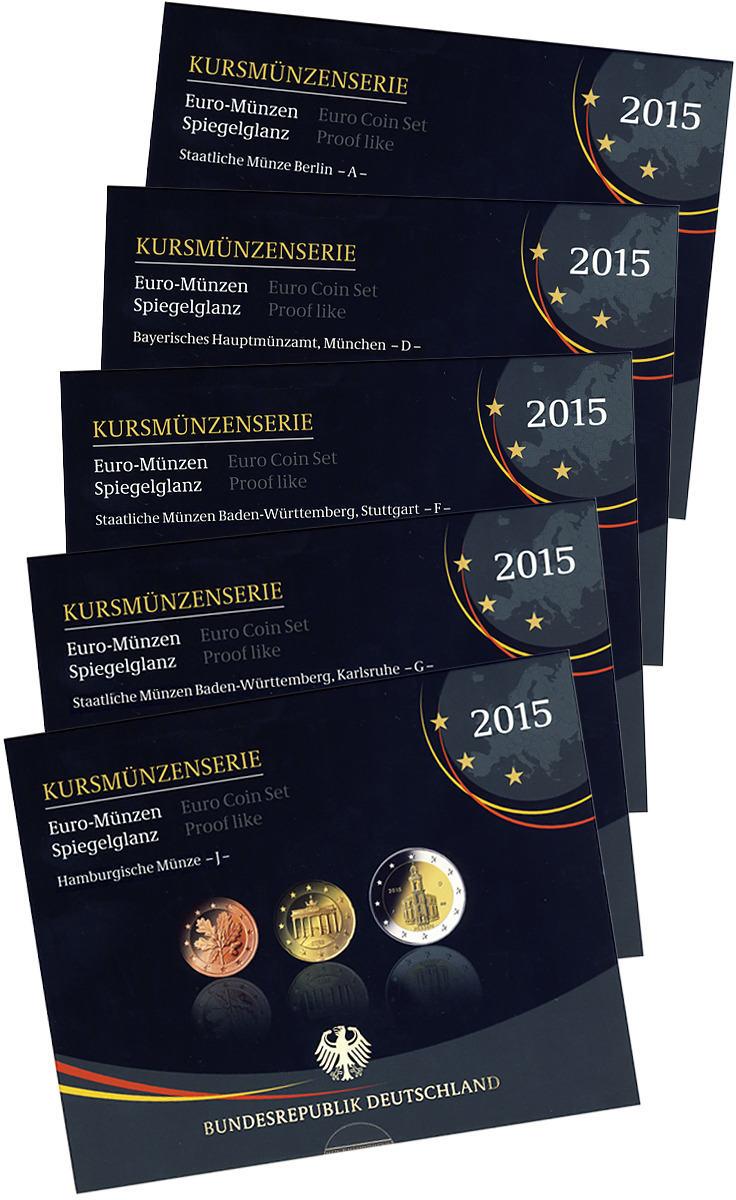 2015 Adfgj Euro Coin Set Germany 2015 Proof Mintage 27000 Mint