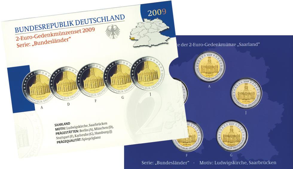 2009 Germany 2 Euro UNC Coin Saarland Ludwigs Church Saarbrucken G Karlsruhe