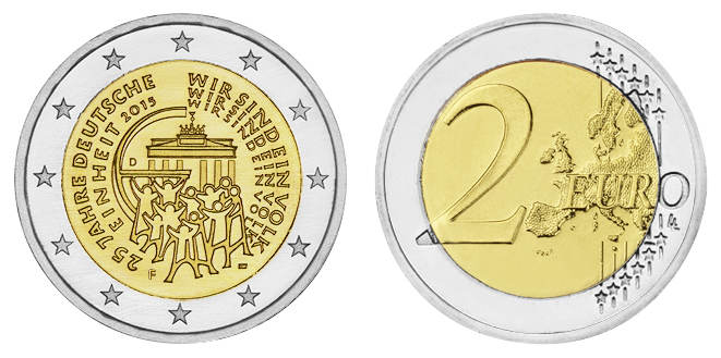 "Germany 2 euro coin 2015 /""25 years of German Unity/"" UNC"