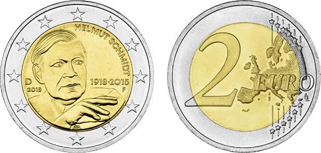 2 Euro 2018 F Deutschland 2018 100 Geburtstag Von Helmut Schmidt