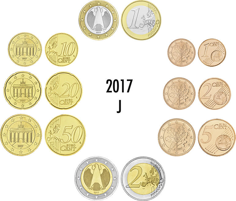 2017 J Euro Coin Set Germany Loose Complete Mint Mark Face Value 3 88 1 X