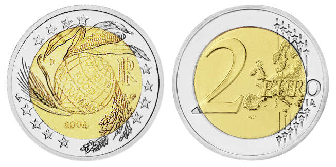 2 Euro 2 Euro Italy 2004 World Food Programme Mintage 15 000 000 25 75 Mm 8 50g Ma Shops
