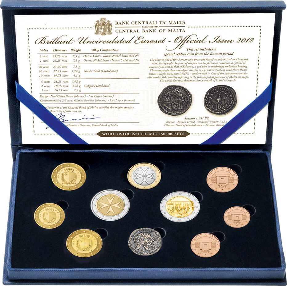 KMS 2012 Malta - coin set 2012 BU face value 5,88 € 9 coins 1x1ct, 2ct,  5ct, 10ct, 20ct,