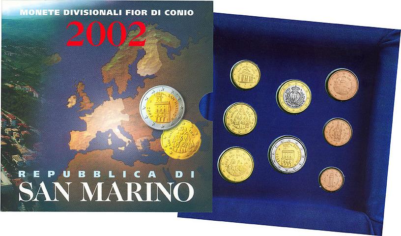 Euro coin set San Marino  2002 BU mintage 120000 face value 3,88 €