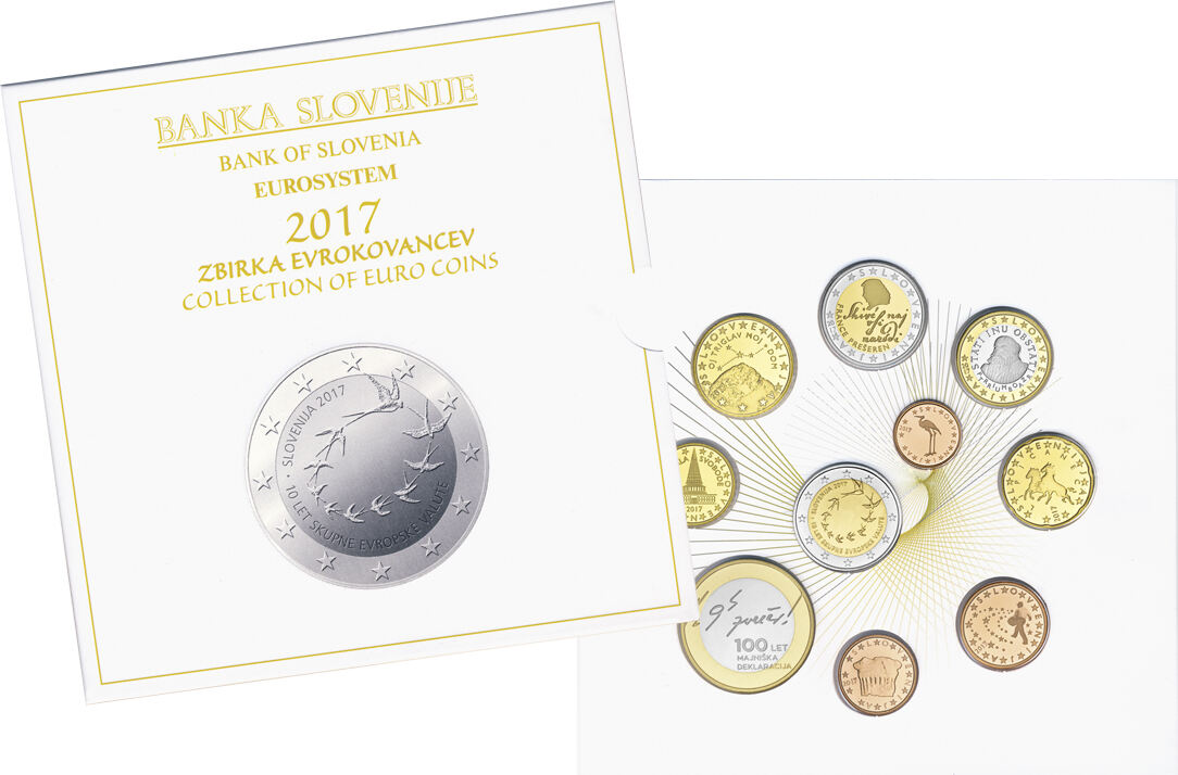 2017 Euro Coin Set Slovenia Proof Face Value 5 88 3 10 Coins 1x1ct Ma S