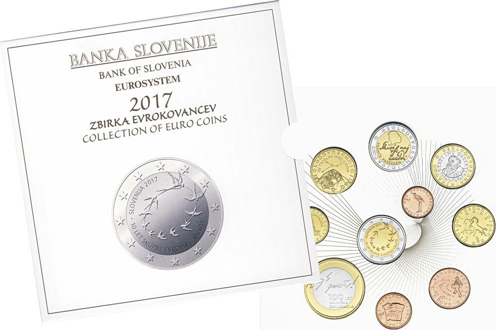 2017 Euro Coin Set Slovenia Bu Face Value 5 88 3 10 Coins 1x1ct 2ct Ma S