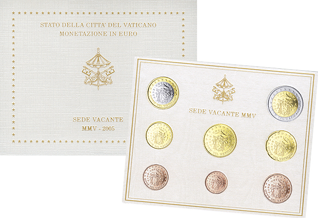 Euro coin set Vatican - Sede Vacante 2005 BU mintage 60.000 face value 3,88 € 8 ...
